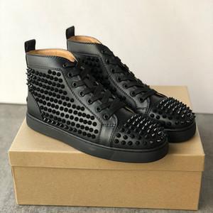 Kutu EU36-47 ile Ayakkabı Koşu Erkekler Kadınlar Kırmızı Alt Sneaker genç Süet Yüksek üst Eğitmenler Çivili Dikenler Gerçek Deri Flats Ayakkabı Spor
