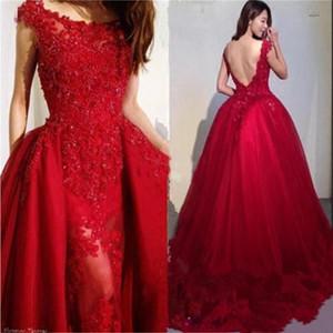 Vin Rouge Perlage Appliques Tulle Overskirt Robes De Soirée 2019 Modest Scoop Neck Lace Dosless Sirène De Bal Robes Tenue de soirée