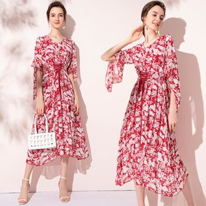 Fashon Floral Womens Dress V-neck 2 3 Sleeve Prom Evening Dress Summer Autumn Dress Boutique Chiffon Dresses