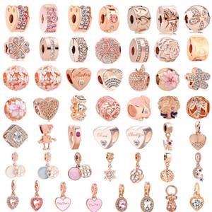 50pcs frete grátis / lote (cada um) Rosa de ouro charme misto europeu beadclip encantos de pandora ajuste pulseira para as mulheres jóias diy M003