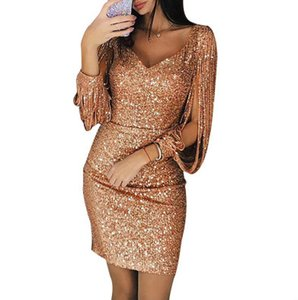 Womens Sexy Dresses Fashion 2019 New Arrival Women Bodycon Dresses Designer Sleeve Women Spring Dress with Sequins Size S-3XL B500606