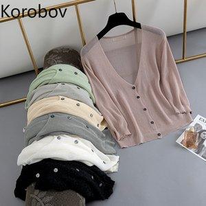 Korobov coreano allentato casuale sottile cardigan estivo monopetto tre quarti maglioni vintage solido sueter mujer 78442
