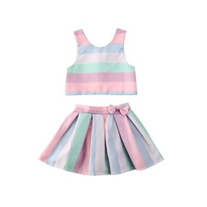 Imcute 2020 Summer Toddler Baby Girls Clothes Sleeveless Vest Colorful Striped Tops Skirts 2pcs Outfits Sets 6M-3Y