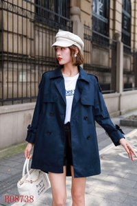Women's Trench Coats gabardine Long Windbreaker Belt Waterproof New English style autumn winter Solid color British Loose A18ZWRED