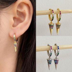 Hecheng 1pair colorido circular brincos cone atacado CZ arco-íris de jóias de ângulo fechado para acessórios de cores mulheres ouro