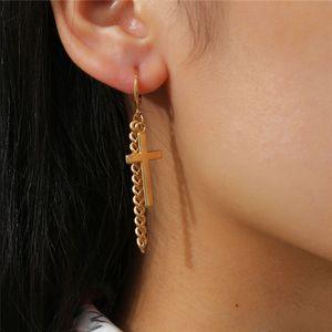 15pcs Lot European Punk Geometric Earrings Tassel Cross Joint Chain Dangle Rings For Women Hip Hop Street Ear Decoration Jewelry Accessories
