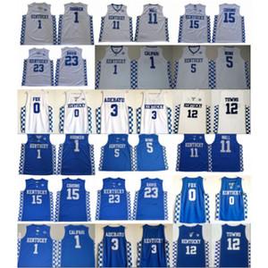NCAA Kentucky Wildcats College 0 Fox 5 Monk 3 Adebayo John 11 Wall 12 Towns 15 Cousins Anthony 23 Davis Devin 1 Booker Basketball Jersey
