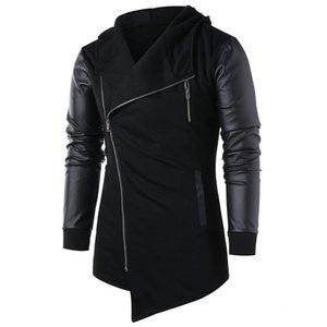 Hemiks Erkekler Asimetrik Zip Up Panel Ceket Sonbahar Kış Erkek Ceket Rahat Dış Giyim Uzun Kollu Erkek Mont Tops