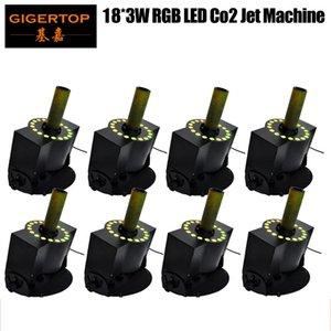8pcs frete grátis / Lot Factory Direct Vendas Led Co2 Jet Machine, Dispositivo Tiptop Luzes Co2 Jet, Led Co2 Máquina 18x3w Rgb 3in1