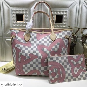 N41050 Classic Lady Pink Canvas Leather Shopping Bag Hobo Handbags Top Handles Boston Cross Body Messenger Shoulder Bags