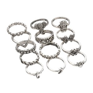 Retro Antique Silver And Gold 2 Colors Crown Rhinestone Big Palm Elephants 13pcs Conjuntos de anillos para mujeres R482