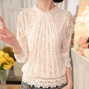 Crochet Lace Women Loose Blouse 2020 Summer Autumn Fashion Style Stand Collar Long Sleeved Transparent Elegant Shirts Casual Tops