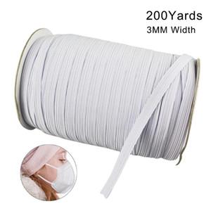 Auf Lager 200 Yards Länge 0.12Inch Breite flocht elastisches Band Cord Strick Band für Sewing DIY-Maske Bedspread Elastic