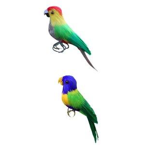 2pcs artificiale uccello piumato realistica Garden Home Decor Ornament Parrot
