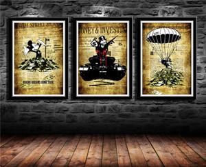 """Alec Monopoly Banksy Inspiré, 3 Pièces Toile Art Murale Peinture à L'huile Décor À La Maison (Sans Cadre / Encadrée) 16x24x3 """""""