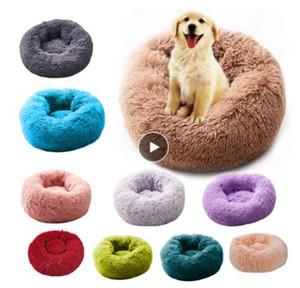 Rund Katzenbett Haus weiche lange Plüsch-Top-Hundebett für Hunde Korb Pet Products Kissen Katze Haustier-Bett-Mat Cat House Tiere Sofa