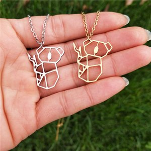 Australia Animal Jewelry Origami Koala Pendant Necklace Bear Choker Gift for Mom Silver Necklaces Gold Cadena Hombre