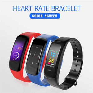 La presión del reloj inteligente Pulsera Bluetooth C1 ritmo cardíaco sangre rastreador de ejercicios Monitor de banda de moda Deportes pulseras SmartWatch