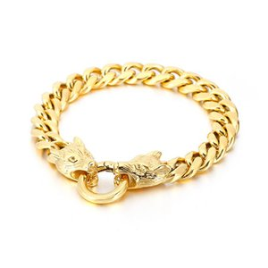 Cool stainless steel Curb Link chain bracelet Double Wolf end bracelet bangle 11mm 8.66'' 61g weight for Mens Gifts
