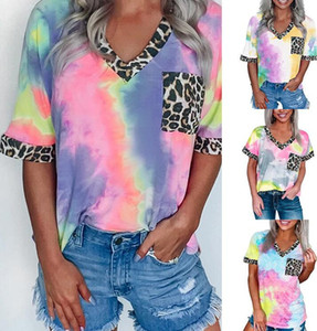 새로운 여성 블라우스 의류 타이 염료 인쇄 무지개 그라데이션 표범 느슨한 셔츠 짧은 캐주얼 패션 티 최고 6color CZ0609 슬리브