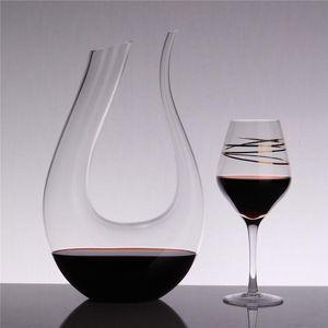 Botella de vino rojo 1500ML gran jarra de cristal hecha a mano Brandy vidrios de Champán Decanter Jug Vertedor aireador para Family Bar