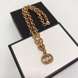 I più venduti Novità retrò doppio collana lettera donne ciondolo gioielli moda semplice designer di design di lusso