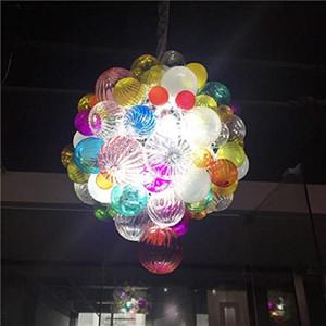 Europäische Moderne geblasenem Glas Kronleuchter Round Shaped Hanging Glass Beaded Lampen für Hauptdekor Murano Glasleuchter-Beleuchtung