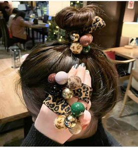 New Fashion Women Girl Leopard Print Hair Band Bead Ties High Elastic Rope Ring Hairband Ponytail Holder Headband Hair Accessory