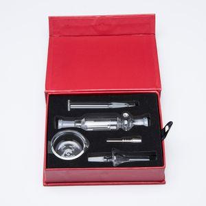 10мм Micro NC Kit Красный Подарочная коробка 10мм Titanium Совет 10мм Кварцевый Совет и малый Glass Bowl стекла Бонг нефтяные вышки
