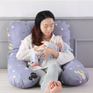 130cm Soft Cotton Cushion Pillow Pregnant Pillow Girl Side Sleeping Cushion U-Shaped Waist Cotton Nursing Pillow With Pillowcase