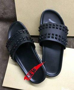 Donna Çivili Kırmızı alt terlik Tasarımcı Kırmızı Bottoms Ayakkabı erkekler Perçin Dikenler Flat slipperswith boxs
