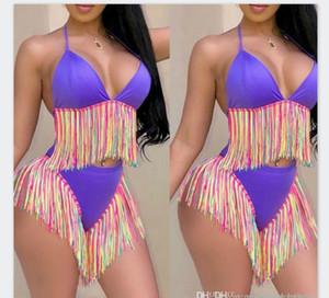 2PCS Yıkanma Relaxed Womens Renkli Yaz Püskül Bikini Seksi İnce İki adet mayolar Bayan Mayo Moda Dişiler İç Çamaşırı Takımları
