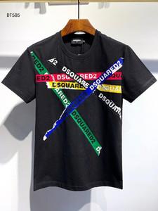 Dsquared 20SS Italia Disco Punk Streetwear hombre camisetas Carta de impresión de alta calidad Pantalones cortos Tops mujeres de los hombres de Hip Hop Harajuku Camiseta Tee DS585