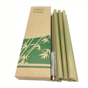 Natural de bambu das palhas em linha reta com escova de limpeza reutilizáveis Palhinhas presente bebendo Birthday Party Tool Set Para Bar escova livre