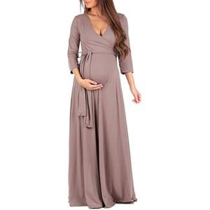 Automne Longue Vêtements De Maternité Pour Les Femmes Enceintes Robe Solide Col De V Grossesse Robes Vestidos Mère Porter Des Vêtements Q190521
