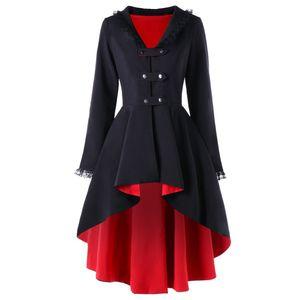 Joineles Alta Lace Bassa assettato pelliccia gotico Donne Vintage Femminile lungo cappotti Autunno Inverno monopetto a maniche lunghe Soprabiti