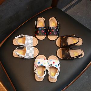 الصيف بنين وبنات صنادل جلدية للأحذية أطفال شقة شاطئ الأطفال اطفال الرياضة لينة غير زلة عارضة الصنادل طفل 1-5 سنوات