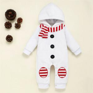 2020 Mignon Nouveau-né bébé fille bonhomme de neige Romper Jumpsuit Hiver chaud Vêtements bébé manches longues à capuche molleton Romper 0-2Y