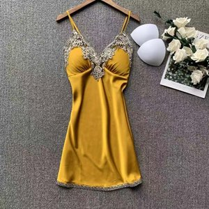 Lisacmvpnel Ice Silk Nightgown Feminino Lace Sexy Chest Pad V-Neck Nightwear