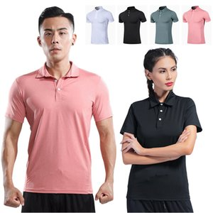 Sports Tights Men Turndown Collar Polo Shirt Elastic Breathable Quick-Drying Gym Short Sleeve Private jiao lian fu Customization
