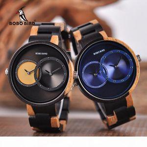 saat erkek Wooden Watches Men Women BOBO BIRD Quartz Wristwatch Male Ladies 2 Time Zone wood box Timepieces