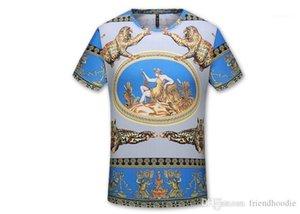 Tees Men 3D Luxury Printed T-shirts Verão O pescoço seda fina de manga curta roupa