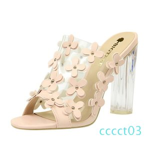 2020 PVC Women Slippers Fashion Sexy High Heeled 9.5CM Women Sandals Clear Heels Open Toe Mules Transparent Female Party Shoes ct3