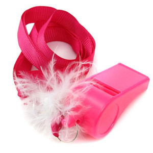 10 unids / lote Hot Pink Hen Party Game Fluffy Whistles con correa Bachelorette Party Girls Night Out Decoración Favor Regalos