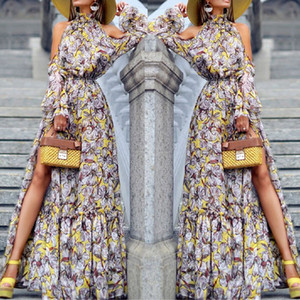 Богемный принт длинное платье vestidos de festa мода женская сексуальная с длинным рукавом с плеча печатных вечерние платья водолазка#8