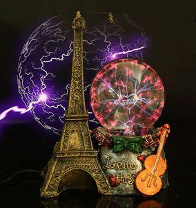 [Funny] Paris Eiffel Tower Electrostatic Plasma Ball Sphere Light Magic Crystal holiday Lamp Household Office Desktop Decoration