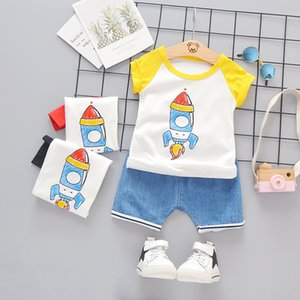 My First Christmas Boy Outfit Summer Rocket Printed Short Sleeved T-shirts + Shorts Kids Bebe Clothes Jogging Suits Tracksuits