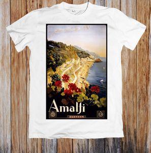 Vintage Travel Poster Amalfi Italy 레트로 유니섹스 티셔츠 남성 브랜드 Clothihng 최고 품질의 패션 남성 T 셔츠 100 % cotton 2019