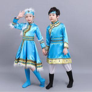 Enfants Afficher Serve Vêtements Ethnic Minority Mongolie Vêtements Homme Fille mongoles robe des minorités ethniques vêtements tibétains