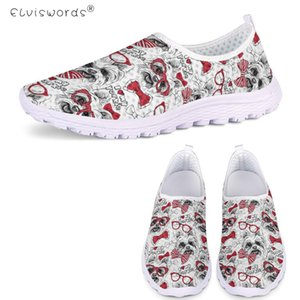 ELVISWORDS Cute Pink Puppy Yorkshire Terrier Dog Print Summer Soft Flats Air Mesh Slip On Sneakers Ladies Lazy Shoes